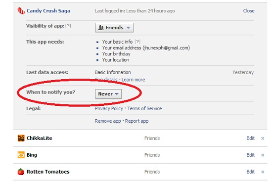 Candy Crush Saga How to disable facebook notifications 2