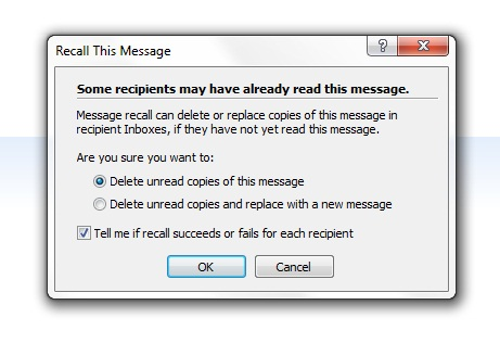 How to recall or change the message that already sent in Microsoft Outlook
