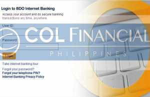 Fund COL Accont using BDO online Banking